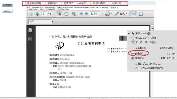 CPRS検索例詳細閲覧画面:特許