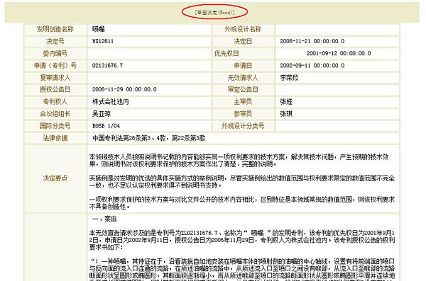 SIPO審決検索結果詳細