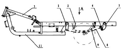 (図1:1前吊金具、2位置限定ブロック、3上縦梁、4回転可能な吊金具、5後吊金具、8板バネ、9緩衝装置、11下湾曲梁)