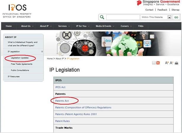 知財法令の画面