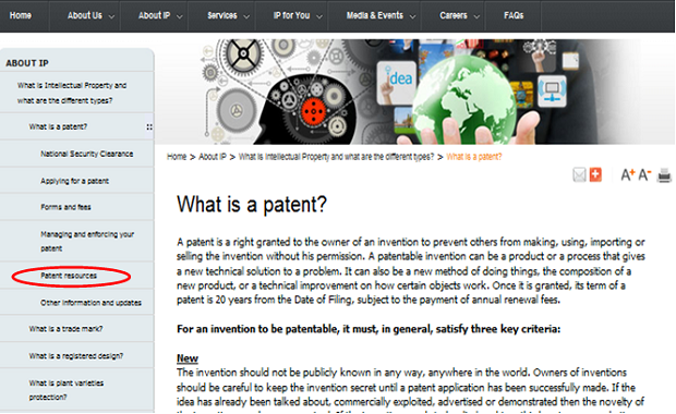 「Patent resources(特許資料)」を選択