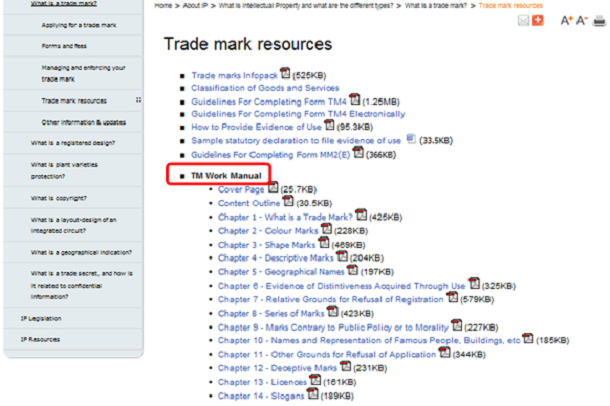 「Trade mark resources(商標資料)」のページ