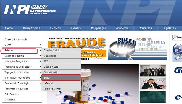 INPIトップ画面から特許検索画面の選択