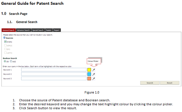 「General Guide for Patent Search」のページ