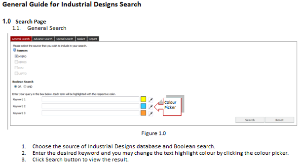 「General Guide for Industrial Designs Search」のページ
