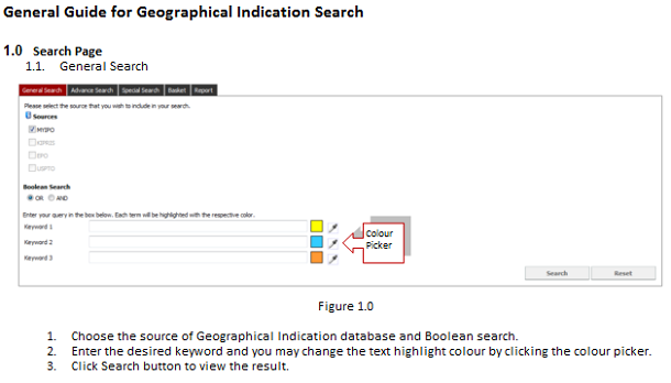 「General Guide for Geographical Indication Search」のページ