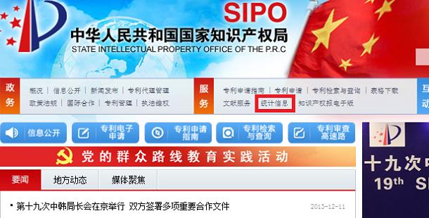 SIPOウェブサイト(中国語版)トップ画面