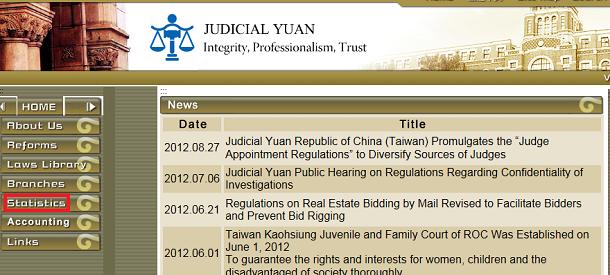 司法院ウェブサイト(英語版)トップ画面