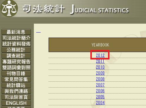 「Judicial Statistics Yearbook」のページ