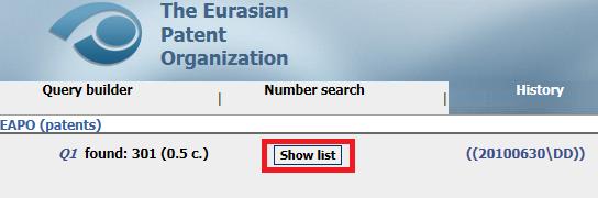 「Show list」をクリック