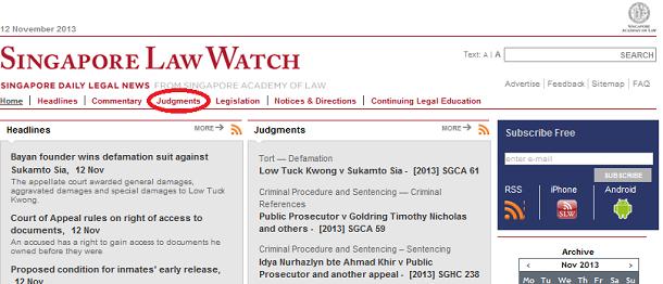 Singapore Law Watchウェブサイト トップ画面