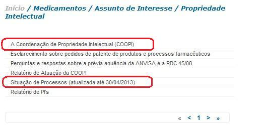 ANVISA知的財産調整局のページ