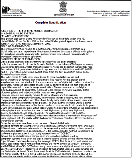 「Complete Specifications(全明細書)」表示画面
