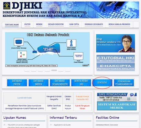 インドネシア知的財産権総局ウェブサイトのトップページ