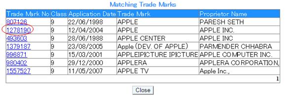 「Registered Trade Marks(登録商標)」検索結果リスト 表示画面