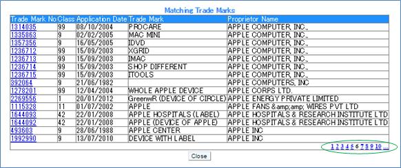 「Proprietor Index(権利者索引)」 検索結果リスト 表示画面