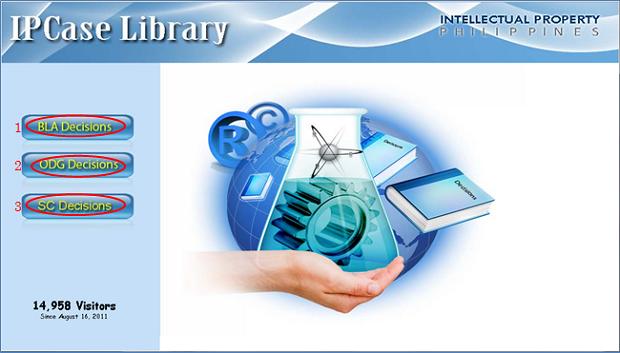 フィリピン特許庁「IP Case Library」トップページ