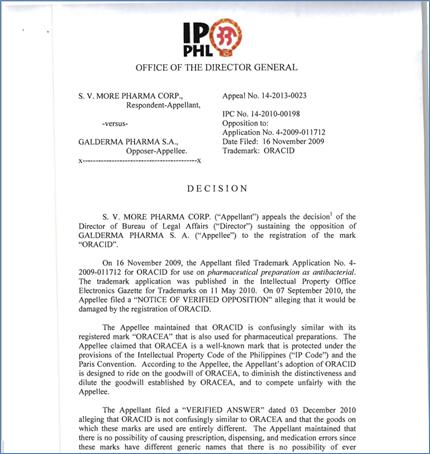 フィリピン知的財産庁長官裁定表示例