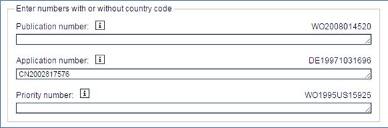2003年9月30日以前の出願番号(例:申请号02817576.X)の入力例