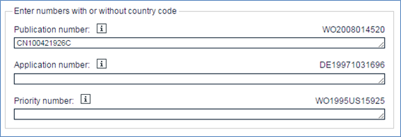 Espacenetでの公告番号入力例(例:授权公告号 CN100421926C)
