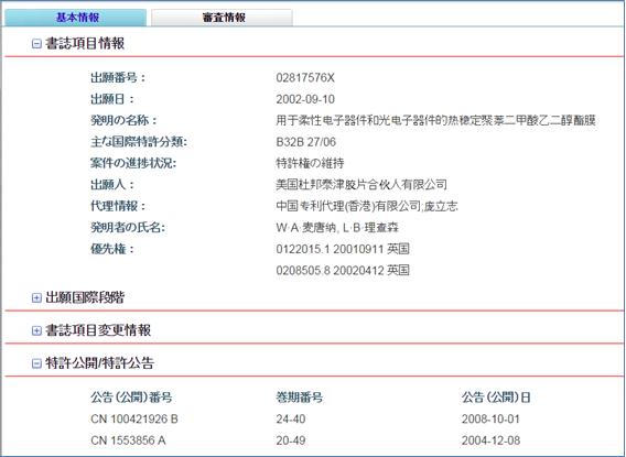 SIPO中国特許紹介システム 出力例(出願番号 02817576.X)