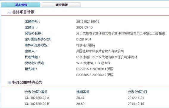 SIPO中国特許紹介システム 出力例(出願番号 2012102410919)
