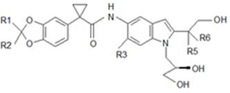 (式中、R1からR6は互いに異なり、それぞれハロゲン、または、アルキル基を表す。)