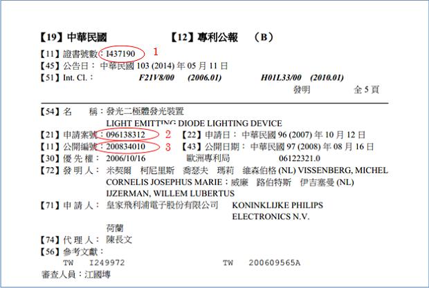 登録公報(専利公報)フロントページ(登録番号I437190)