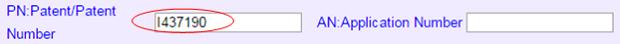 登録番号I437190の入力例